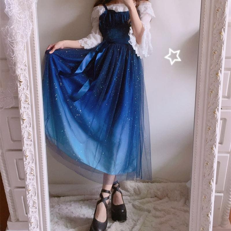 Free Shipping }Galaxy Blue/Black Starry Fairy Dress SP179990 ...