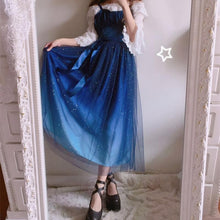 Load image into Gallery viewer, {Free Shipping }Galaxy Blue/Black Starry Fairy Dress SP179990