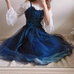 Galaxy Blue/Black Starry Fairy Dress SP179990
