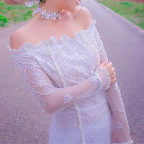 Off-Shoulder Dreamy Princess Long Dress SP179413