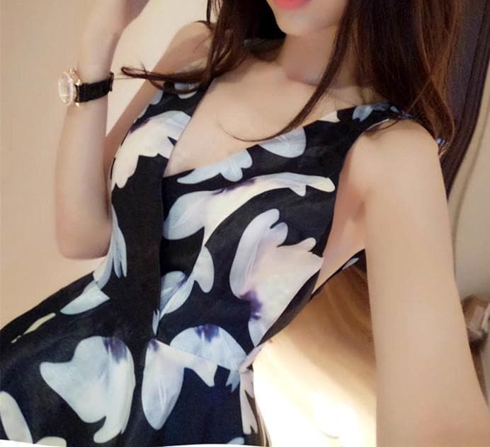 Navy/Floral Sexy One Piece Dress SP165636