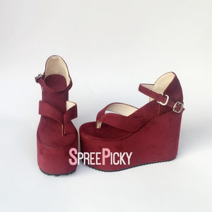 Open Toed Velvet Wedge Platforms SP179707