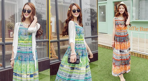 S-XL Orange/Green Bohemia Floral Printing Beach Maxi Dress SP152631 - SpreePicky  - 2