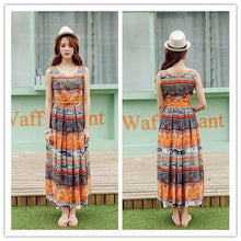 Load image into Gallery viewer, S-XL Orange/Green Bohemia Floral Printing Beach Maxi Dress SP152631 - SpreePicky  - 5