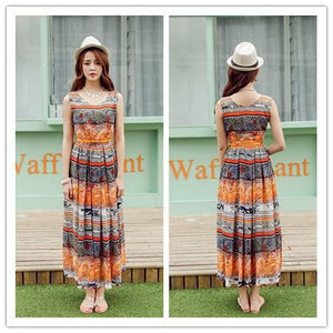 S-XL Orange/Green Bohemia Floral Printing Beach Maxi Dress SP152631 - SpreePicky  - 5