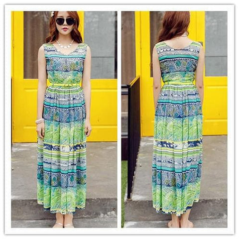 S-XL Orange/Green Bohemia Floral Printing Beach Maxi Dress SP152631 - SpreePicky  - 4