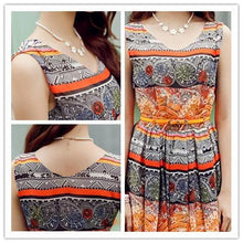 Load image into Gallery viewer, S-XL Orange/Green Bohemia Floral Printing Beach Maxi Dress SP152631 - SpreePicky  - 6