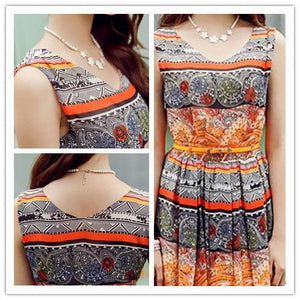 S-XL Orange/Green Bohemia Floral Printing Beach Maxi Dress SP152631 - SpreePicky  - 6