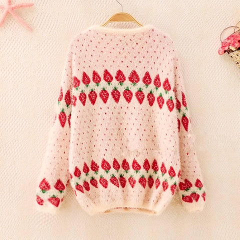 Oversized Warming Strawberry Knitting Sweater SP168490