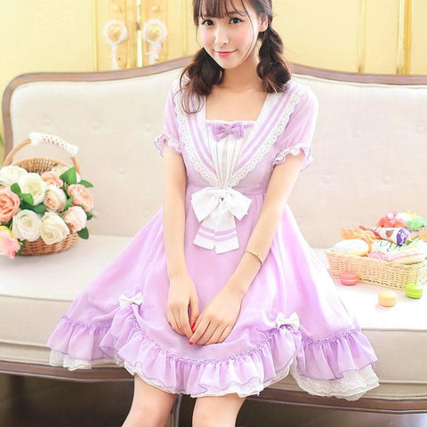 Pasetl Purple Lolita Sailor Dress SP152926 - SpreePicky  - 2