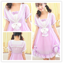 Load image into Gallery viewer, Pasetl Purple Lolita Sailor Dress SP152926 - SpreePicky  - 1