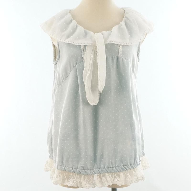 Pastel Blue Sweet Dots Bunny Bow Lace Sailor Top SP140417 - SpreePicky  - 1