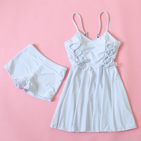 Pastel Blue Sweet Two-Piece Swimsuit SP179125