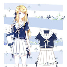 Load image into Gallery viewer, Pastel Floral Sailor Uniform Shirt/Skirt SP1710385