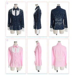 Piano and Stars Joint Colors Long Sleeve Blouse Only SP130209 - SpreePicky  - 2