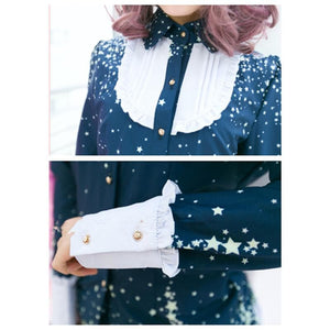 Piano and Stars Joint Colors Long Sleeve Blouse Only SP130209 - SpreePicky  - 3