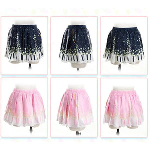 Piano and Stars Pleated Skirt Only with Pocket SP130211 - SpreePicky  - 3
