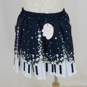 Piano and Stars Pleated Skirt Only with Pocket SP130211 - SpreePicky  - 4