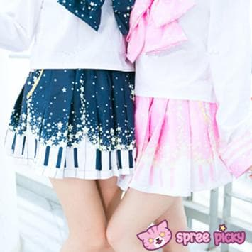 Piano and Stars Pleated Skirt Only with Pocket SP130211 - SpreePicky  - 1