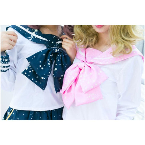 Piano and Stars Printing Sailor Long Sleeve Shirt Top only with Bow SP130210 - SpreePicky  - 2