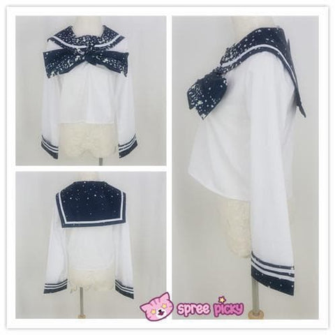 Piano and Stars Printing Sailor Long Sleeve Shirt Top only with Bow SP130210 - SpreePicky  - 4