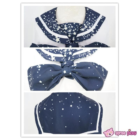 Piano and Stars Printing Sailor Long Sleeve Shirt Top only with Bow SP130210 - SpreePicky  - 5