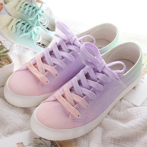 Pink-Purple/Yellow-Green Kawaii Bandage Canvas Shoes SP168408