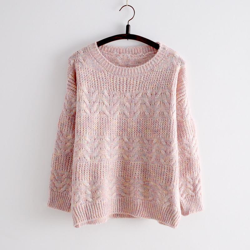 Pink/Apricot Kawaii Cutie Long Sleeve Sweater SP154028 - SpreePicky  - 1