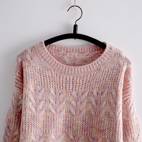 Pink/Apricot Kawaii Cutie Long Sleeve Sweater SP154028 - SpreePicky  - 5
