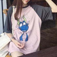 Load image into Gallery viewer, Pink/Beige Loose Kawaii Cartoon Shirt SP1812244