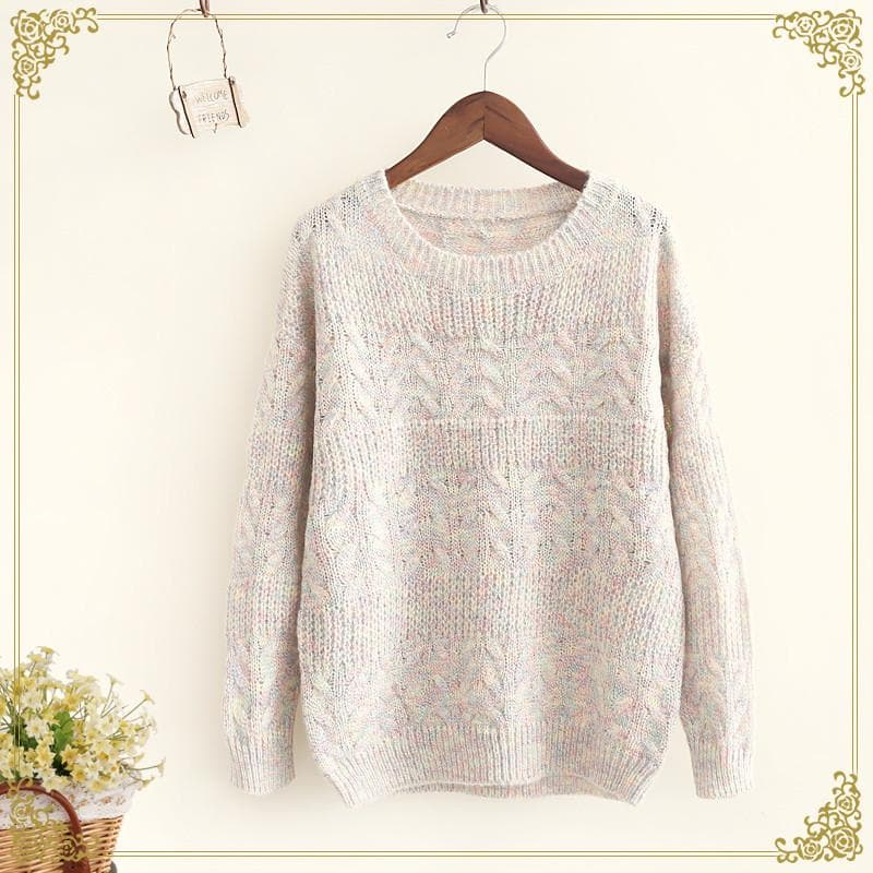 Pink/Beige Pullover Knitting Sweater SP168240