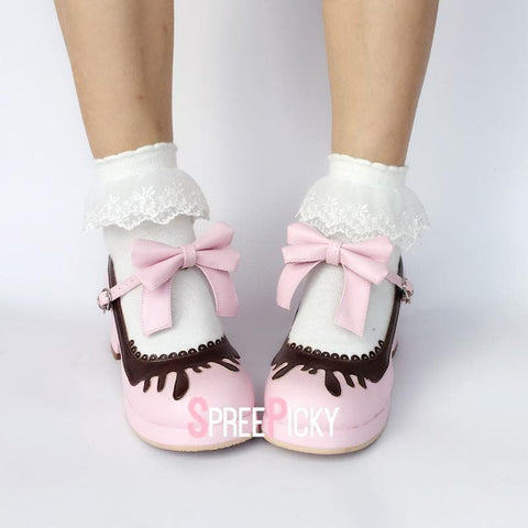 Pink/Black/Coffee Chocolate Strawberry Doll Shoes SP1710191
