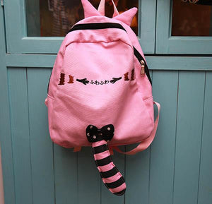 Pink/Black/Grey Kawaii Neko Cat Backpack With Tail SP166834
