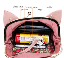 Load image into Gallery viewer, Pink/Black Cute kitten Mini Shoulder Bag SP152949 - SpreePicky  - 8