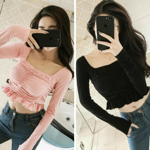 Pink/Black Falbala Long Sleeve Club Top SP1811866