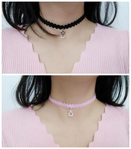 Pink/Black Flower Pendant Choker Necklace SP1811905