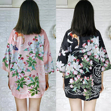Load image into Gallery viewer, Pink/Black Harajuku Floral Carp Kimono Coat S12672