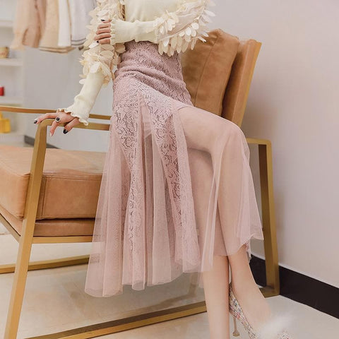 Pink/Black High Waist Lace Tulle Skirt SP1812087