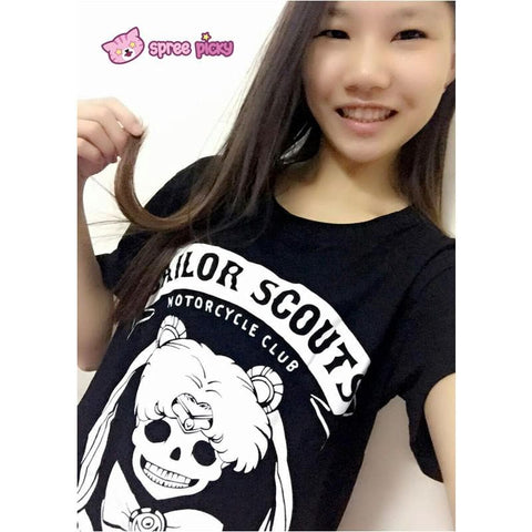 Pink/Black Joking Sailor Moon Sailor Skull T-shirt SP152028 - SpreePicky  - 5