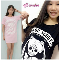Pink/Black Joking Sailor Moon Sailor Skull T-shirt SP152028 - SpreePicky  - 1