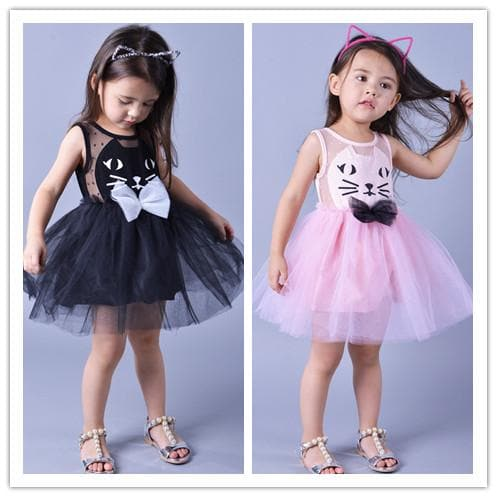 Pink/Black Super Cute Kitty Children's Princess Dress SP153041 - SpreePicky  - 1