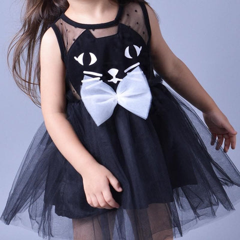 Pink/Black Super Cute Kitty Children's Princess Dress SP153041 - SpreePicky  - 4