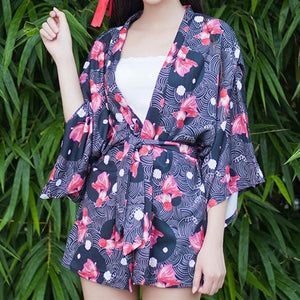 Pink/Blue/Black Kawaii Printing Bathrobe Haori Kimono SP179270