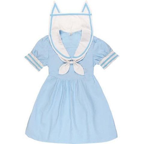 Pink/Blue Harajuku Sailor Neko Collar Short/Long Sleeve Dress SP152031 - SpreePicky  - 3