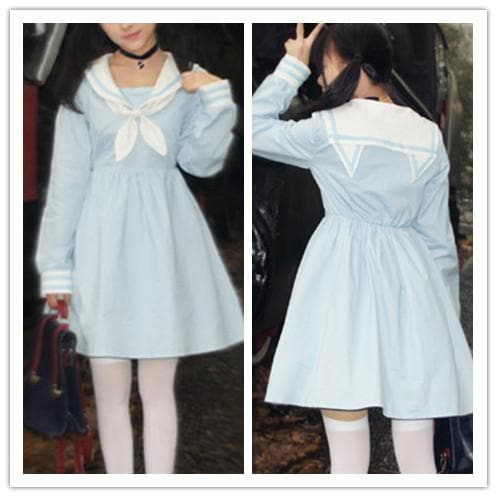 Pink/Blue Harajuku Sailor Neko Collar Short/Long Sleeve Dress SP152031 - SpreePicky  - 4