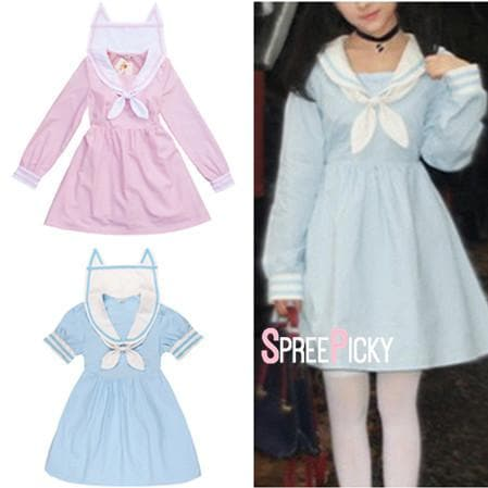 Pink/Blue Sailor Neko Cat Ear Collar Short/Long Sleeve Dress SP152031