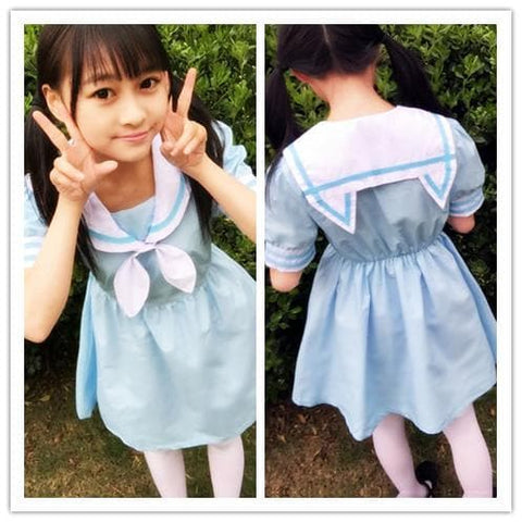 Pink/Blue Harajuku Sailor Neko Collar Short/Long Sleeve Dress SP152031 - SpreePicky  - 5
