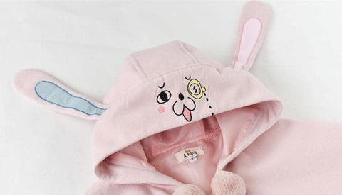 Pink/Blue Kawaii Rabbit Woolen Cape Coat SP168202