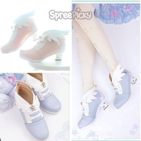Pink/Blue Lolita Flying Wings Shoes SP178733