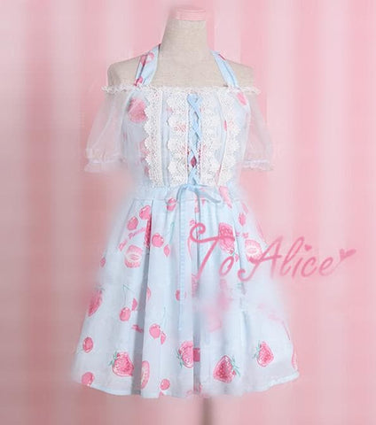 [Pink/Blue]Lolita Strawberry&Cherry Print Dress SP167103